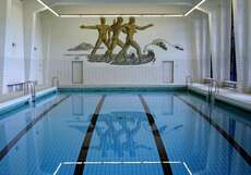 The pool at Vogelsang IP, which displays Nazi art.