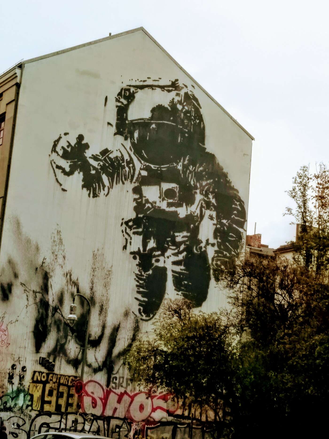 One of the big street art murals I would pass on my walk.
