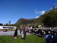 Everybody gathers for the children's parade in Nordfjordeid