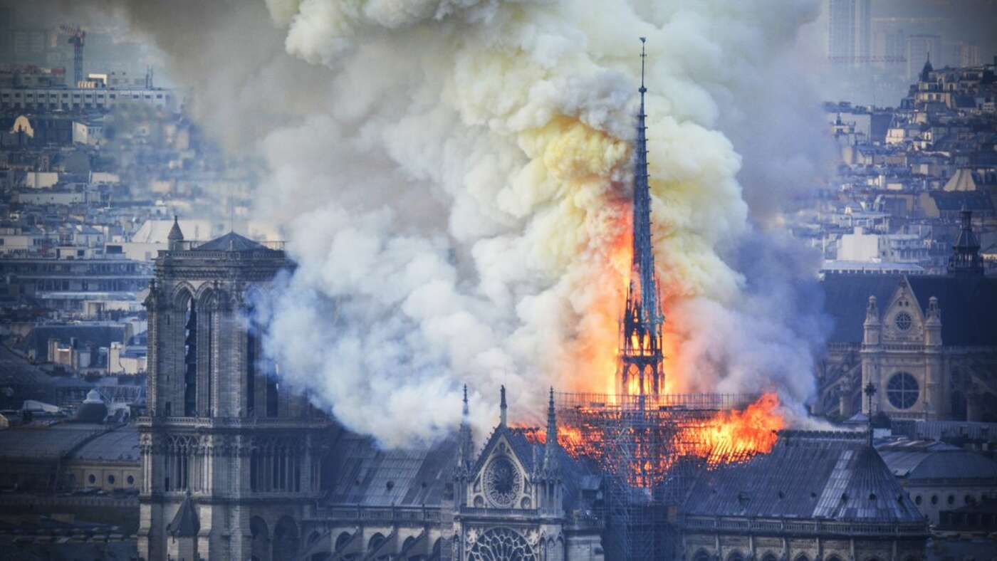 The fire at Notre-Dame.