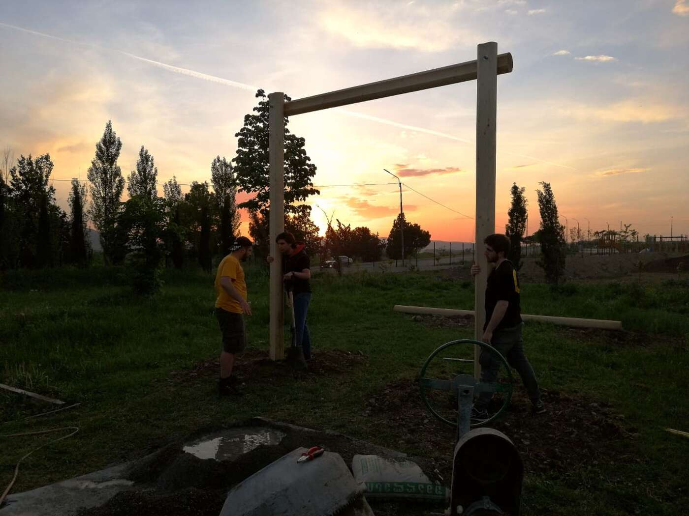 Erecting the first structure in the Georgian sunset