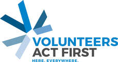 "Logo zum diesjährigen Motto: ""Volunteers Act First. Here. Everywhere."""